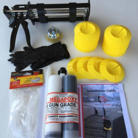 Trolley Stopper kit with epoxy, safety gloves, epoxy gun, safety glasses & instruction manual
